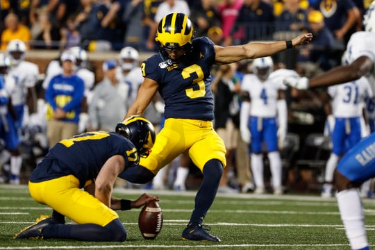 Michigan kicker Quinn Nordin attempts for extra point against Middle Tennessee State during the first half at Michigan Stadium, Saturday, August 31, 2019.