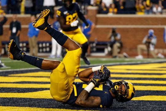 Michigan receiver Tarik Black scores a touchdown against Middle Tennessee State during the first half at Michigan Stadium, Saturday, August 31, 2019.