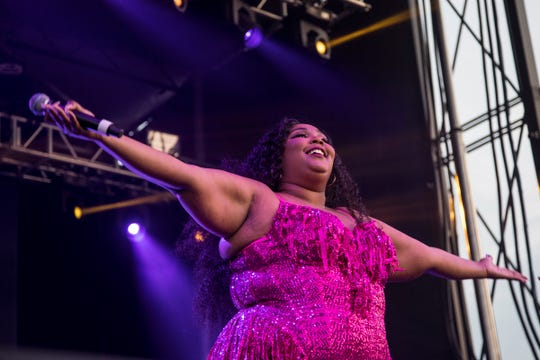 DETROIT-NATIVE QUEEN - Lizzo performs at the River Stage of Mo Pop Festival at West Riverfront Park in Detroit,   Saturday, July 27, 2019.