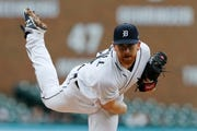 Detroit Tigers starting pitcher Spencer Turnbull throws during the second inning.