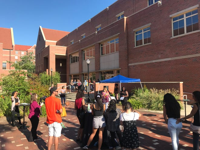A crowd gathers outside the Center for Global Engagement for the Estonko mixer