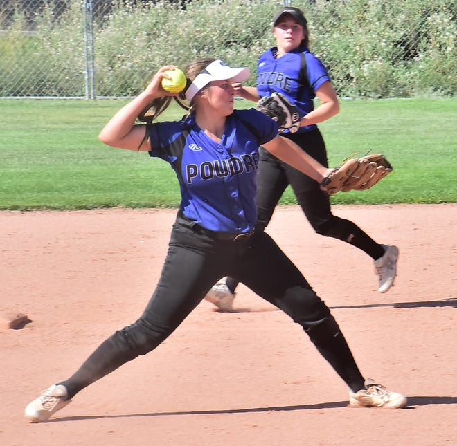 Poudre High School shortstop Jessie Henchenski fires a throw to first base after fielding a grounder in an Aug. 31, 2019, game against Comanche, Okla., in a tournament at Triple Crown Sports. The Impalas are scheduled to play a home game at 4:15 p.m. Tuesday against Ralston Valley.