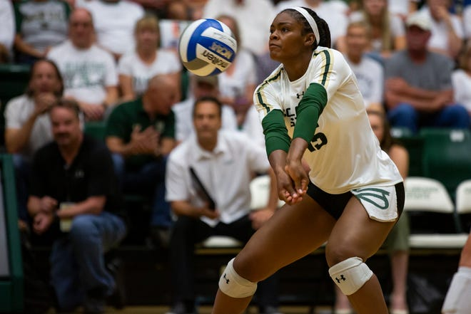 Colorado State outside hitter Breana Runnels, shown receiving a serve in an Aug. 31, 2019, win over Oklahoma at Moby Arena, had 14 kills kills Saturday in the Rams' three-set win over No. 22 Florida State in a tournament in Fort Worth, Texas. The Rams swept TCU and Florida Atlantic on Friday.
