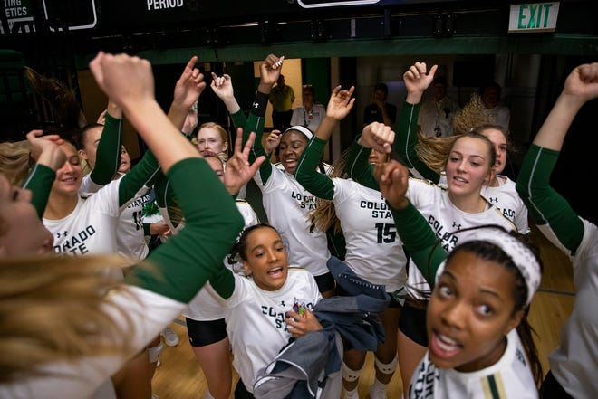 Colorado State's volleyball team gets hyped up before an Aug. 31, 2019, win over Oklahoma at Moby Arena. The Rams play home matches at 7 p.m. Wednesday against Northern Colorado, 7 p.m. Thursday vs. Cal Poly and 7 p.m. Friday against Oregon State in the Homewood Suites UNC/CSU Classic.