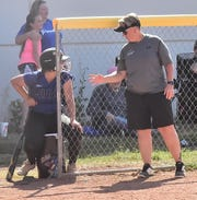 Poudre High School softball coach Wendi Miller gives instructions to a player during an Aug. 31, 2019, game against Comanche, Okla., in a tournament at Triple Crown Sports. The Impalas host cross-town rival Rocky Mountain at 4:15 p.m. Tuesday.
