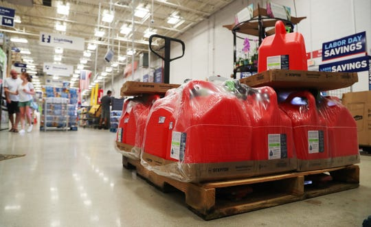 Lowe's in south Fort Myers is one of several area stores that restocked supplies to include water, gas containers and generators in preparation for Hurricane Dorian. A manager at the Lowe's said, if needed, they will ship supplies to stores in areas hardest hit by Hurricane Dorian.