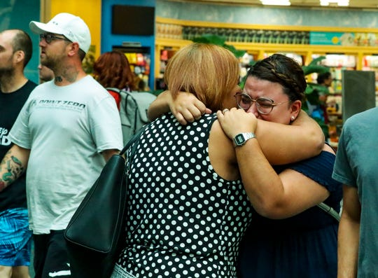 Julian Rodriguez says a tearful goodbye to her mother, Martha Cedre, as she heads back to Puerto Rico.Martha stayed about a week longer to wait out Dorian incase it hit Puerto Rico, but now that the storm is coming to Florida she feels it's time to go home. Both women braved Hurricane Maria two years ago, and now Julian will have to weather Hurricane Dorian in Florida.  Orlando International Airport, Sunday, September 1, 2019.
