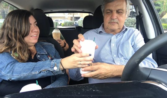 News-Press reporters Melissa Montoya and Bill Smith take a drive to Starbucks so Bill can try a pumpkin spice latte for the first time. Melissa loves them. Bill is handed his first pumpkin spice latte to try.