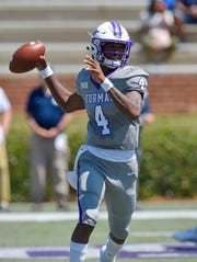 Furman quarterback Darren Granger enters the Virginia Tech game completing 67 percent of his passes in 2019.