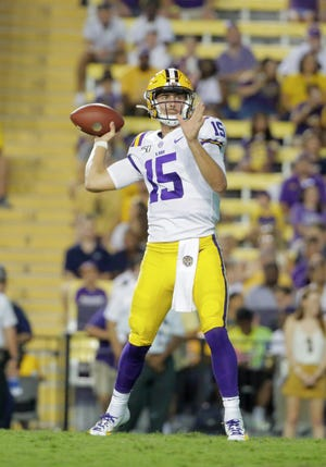 Aug 31, 2019; Baton Rouge, LA, USA; LSU Tigers quarterback Myles Brennan (15) looks to throw against the Georgia Southern Eagles during the second half at Tiger Stadium. Mandatory Credit: Derick E. Hingle-USA TODAY Sports