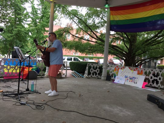 Lancaster resident Kyle Lewis performs Saturday at the Pride event downtown Lancaster.