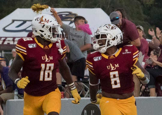 ULM running back Josh Johnson (8) ranks fifth in FBS in rushing with 299 yards rushing and three touchdowns. The junior from Opelika, Alabama ran for 126 yards and a touchdown on 26 carries at FSU.