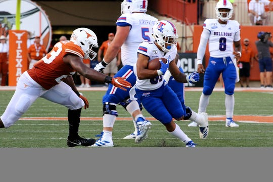 Louisiana Tech redshirt junior wide receiver Cee Jay Powell (81) makes a catch versus Texas Longhorns Saturday, Aug. 31 at Darrell K. Royal-Texas Memorial Stadium.