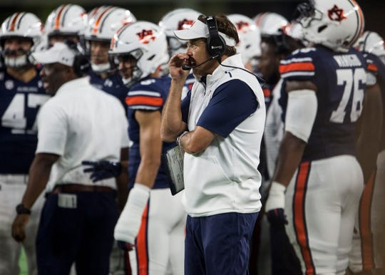 Auburn head coach Gus Malzahn during a timeout at AT&T Stadium in Arlington, Texas, on Saturday, Aug. 31, 2019. Auburn defeated Oregon 27-21.