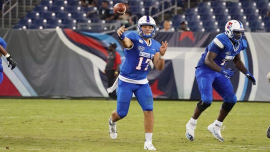 Cameron Rosendahl throws a pass for Tennessee State against Mississippi Valley State in the John Merritt Classic on Aug. 31, 2019 at Nissan Stadium in Nashville.