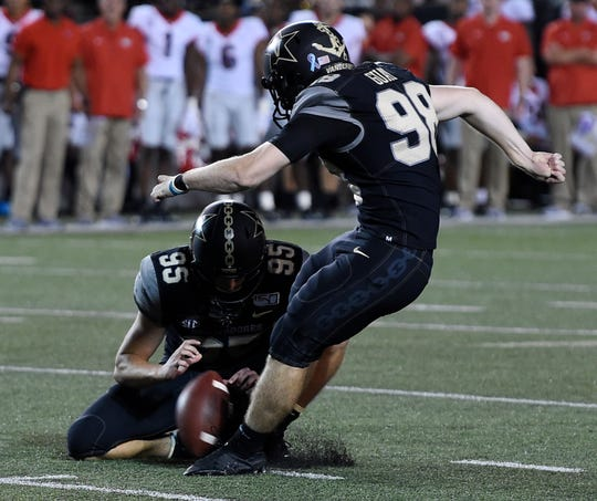 Vanderbilt placekicker Ryley Guay (98) kicks his second field goal during the first half against Georgia on Saturday.
