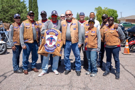 Members of the Airborne Paratrooper Motorcycle Club of El Paso attend the birthday celebration of Tuskegee airman James Clayton Flowers on Saturday, Aug. 31, 2019, in Las Cruces.