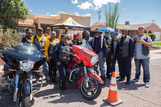Members of the Buffalo Soldiers Motorcycle Club attend the birthday celebration of Tuskegee Airman James Clayton Flowers in Las Cruces on Saturday, Aug. 31, 2019.