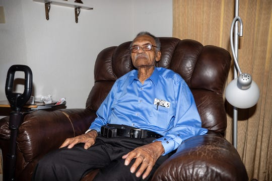 James Clayton Flowers, a Tuskegee Airman who will turn 103 on Christmas Day, received an early birthday celebration at his home in Las Cruces on Saturday, Aug. 31, 2019.