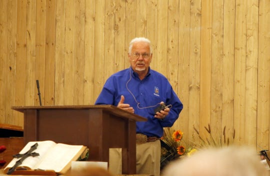 Chaplain Darrell Winter gives his Sunday Service on Sept. 1, 2019 at the Ruidoso Downs Racetrack Chapel. The chapel provides spiritual guidance, devotions, a place for children to play and meals for anyone who comes to the chapel. He even prays with jockeys in the sauna before a race.