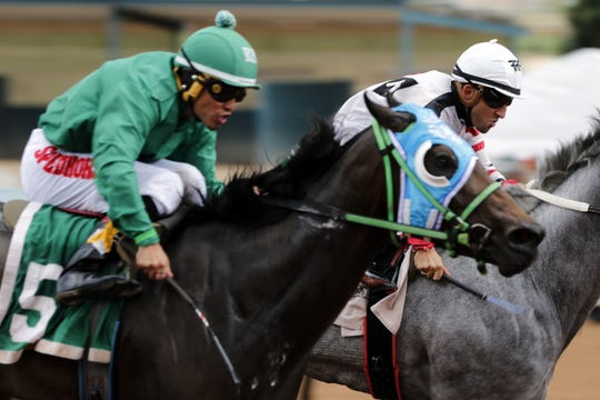 Mariposa Luna Bella (5) races in the second race of the 2019 All-American Derby on Sept. 1, 2019 at the Ruidoso Downs Racetrack.