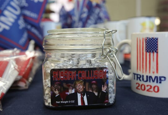 President Donald Trump merchandise is for sale inside the Trump Ville Yucca Valley store in Yucca Valley on Saturday, August 31, 2019.