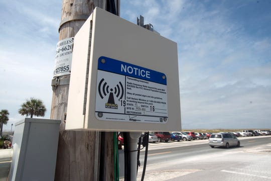 A 5G small cell transmitter is pictured outside Peg Leg Pete's on Fort Pickens Road.