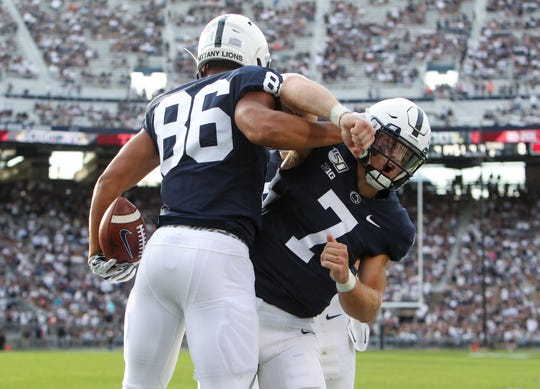 Expect more from these backups like quarterback Will Levis (7) throwing to tight end Brenton Strange (86) in Penn State's prime time meeting with Buffalo. The two celebrated here after a fourth quarter touchdown against Idaho. Mandatory Credit: Matthew O'Haren-USA TODAY Sports