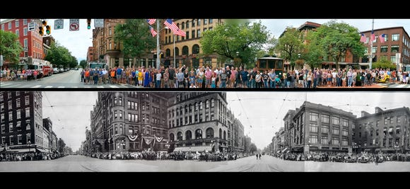 1919 and 2019 compared: This is a section of an original 100-year-old panorama and below a photo shot in 2019 of the same section of Continental Square in York. A re-creation of the 1919 convention and parade of the York County Firemen's Association was staged as part of Labor Day 2019 festivities in York.