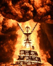 Images from the 2019 burn night at Burning Man on August 31, 2019.