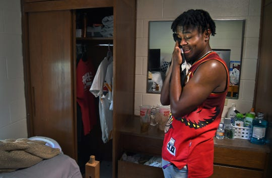 DaMillion Williams takes a break during move-in day at James Madison.