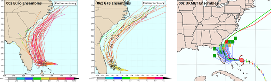 Hurricane Dorian ensemble models on Sunday morning.