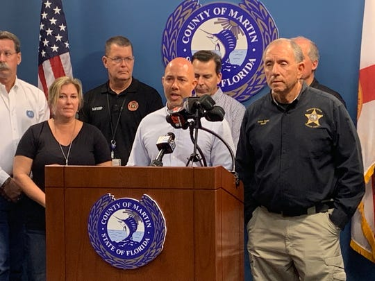 US Congressman Brian Mast joined local officials to address the media at the Martin County Emergency Operation Center in Stuart, Sept. 1, 2019.