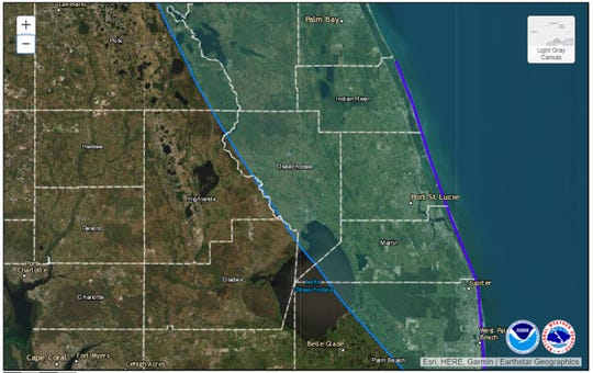 All of the Treasure Coast is back in Hurricane Dorian's 'cone' as of the 5 a.m. advisory on Sunday, Sept. 1, 2019.