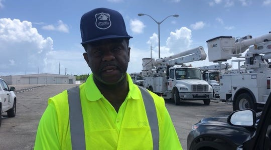 Earl Lewis, 61, traveled from Portsmouth, Virginia to assist emergency response teams, he said Sunday, Aug. 1. He is tasked with guarding the emergency equipment before the storm arrives.