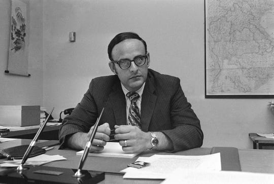 Leslie H. Gelb, who directed the task force which submitted the 47-volume study of U.S. participation in the Vietnam War, poses in his Brookings Institution office in Washington. A diplomat and journalist specializing in world affairs, Gelb, has died. He was 82. The New York Times reports that Gelb's wife says he died Saturday, Aug. 31, 2019, at a New York hospital of renal failure brought on by diabetes.