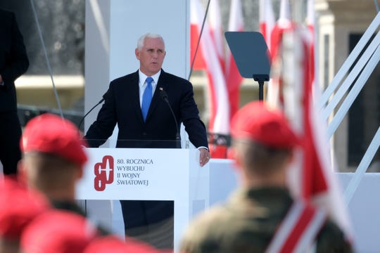 Vice President Mike Pence gives a speech at an international ceremony to commemorate the 80th anniversary of the outbreak of World War II on Sept. 1, 2019 in Warsaw, Poland. Pence stepped in for President Donald Trump, who had been scheduled to attend the ceremony but pulled out last week.