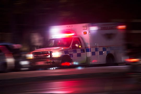 An ambulance responds to an emergency call.