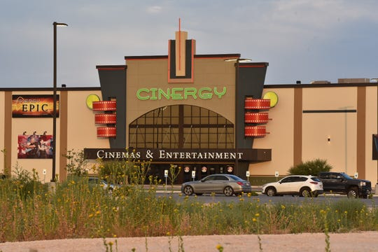 Scene outside the Cinergy movie theater in Odessa, Texas where a gunman was killed in a shootout with police.  Five people were killed and 21 people were injured in a shooting on Saturday, Aug 31, 2019 in Odessa and Midland, Texas.