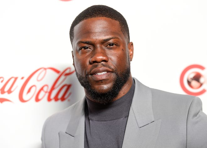 FILE - In this April 4, 2019 file photo, Kevin Hart poses for photos at the Big Screen Achievement Awards at Caesars Palace in Las Vegas. Hart has been injured in a car crash in the hills above Malibu on Sunday, Sept. 1.