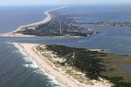 """The southern end of Island Beach State Park is shown in this view looking south over the Barnegat Inlet to Long Beach Island Sunday, September 1, 2019.  The flight was done with volunteer pilots from LightHawk on a mission for the University of North Carolina at Chapel Hill to study """"King Tides."""""""