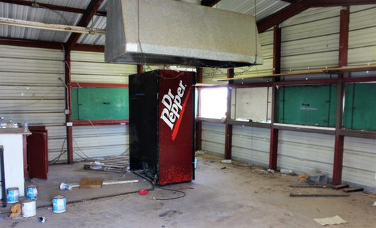 The interior of one of eight remaining permanent food booths at the Taylor County Expo Center.