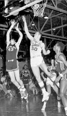 Richard Little, left, takes a shot over a defender during his time at Abilene High. Little went on to star at Texas Tech where he was a two-time All-Southwest Conference selection. This weekend he was inducted into the SWC Hall of Fame.