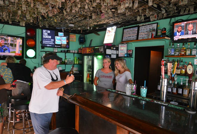 The effects of Hurricane Dorian were starting to be felt on the Space Coast with winds picking up and big surf. Hunkerdown Hideaway, a small beach bar near the end of Minutemen Causeway, known for staying open for locals who don't plan on evacuating, was starting to fill up with regulars Monday morning.
