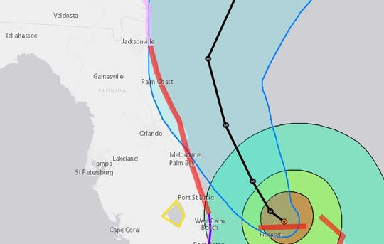 A graphic from the National Hurricane center shows the forecast cone for Hurricane Dorian as of 5 p.m. Monday, Sept. 2.