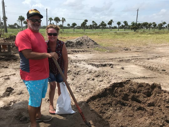 Jeff and Julie Rich of Satellite Beach filled up sandbags Monday morning before Hurricane Dorian arrives to Brevard County.