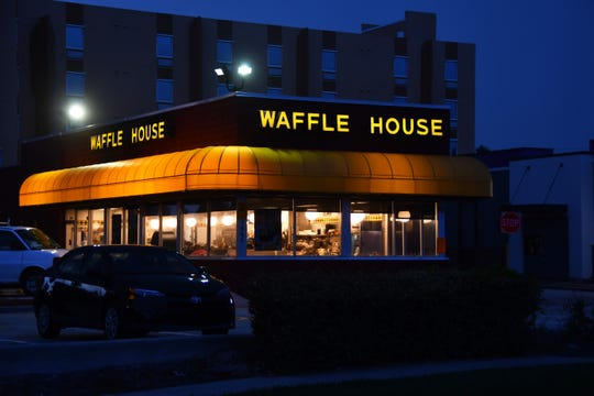 A few people were out before dawn checking out waves and the effects of Hurricane Dorian so far on the dunes. The Waffle House in Cocoa Beach was open for business, a sign that infrastructure is still normal.