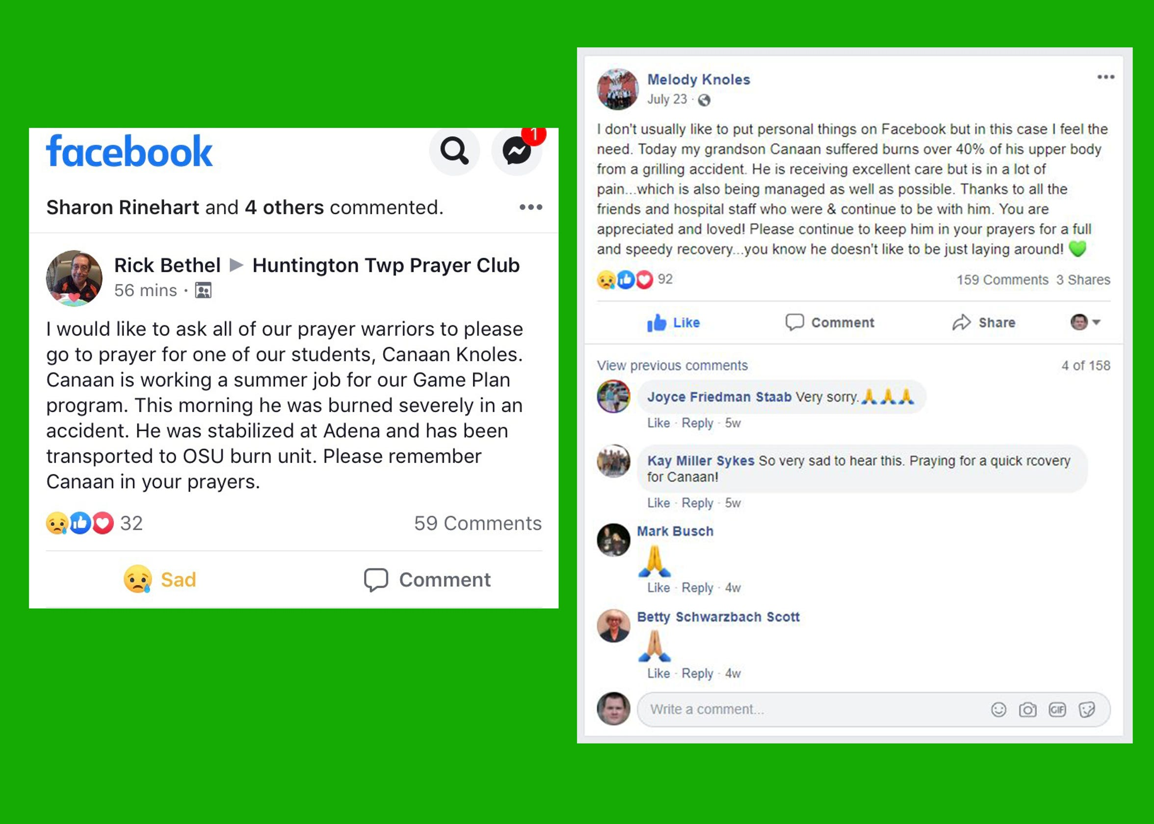 Facebook and other social media platforms were key factors in keeping others informed about Canaan's condition and the appreciation the family had with all the prayer requests.