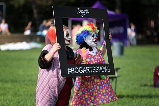 Scary clowns with Dent Schoolhouse goof off at Riverfest on Sunday, September 1.