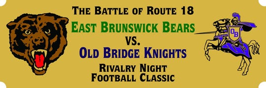 """The plate on the """"Battle of Route 18"""" trophy, awarded to the winner of an annual meeting between Old Bridge and East Brunswick, has been altered to reflect the contest being played on """"Rivalry Night."""""""